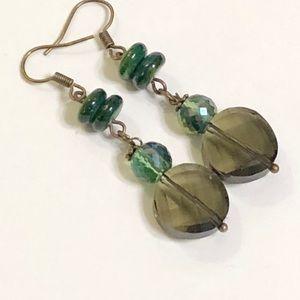 Smokey Topaz Shimmering Vitrail Green MOP Earrings